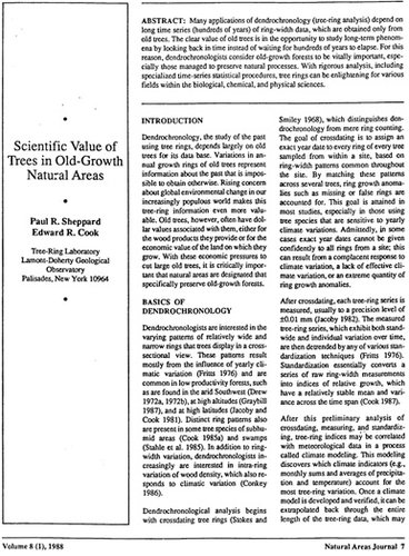 front page of the scientific value of old growth forests