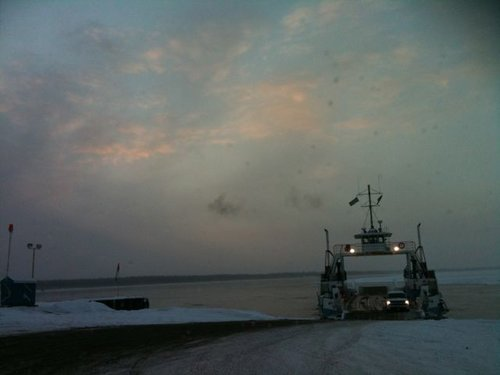 First chance to ferry south across the MacKinzie, enroute to Alaska, December 12
