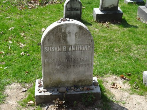 Susan B. Anthony's marker, in the family plot.