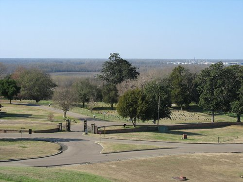 Cemetery with Mississippi River floodplain in background