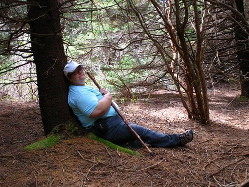 Mom under the Hayes Spruce.JPG