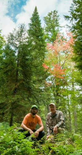 Howard Stoner and I with the crown of the Slow River Pine in the far background.