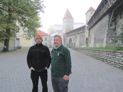 Jeroen Engelhart and Lee Frelich and Medieval city wall in Tallinn, Estonia. Some buildings date back as far as 1154.